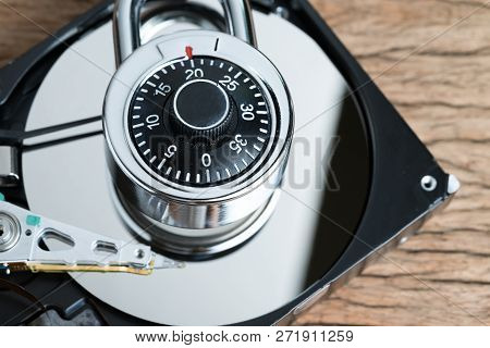 Digital Cyber Safety Or Security Encryption Concept, Combination Lock Pad With Code Numbers On Compu