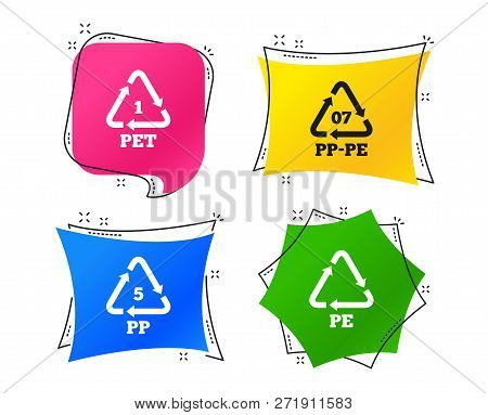Pet 1, Pp-pe 07, Pp 5 And Pe Icons. High-density Polyethylene Terephthalate Sign. Recycling Symbol.