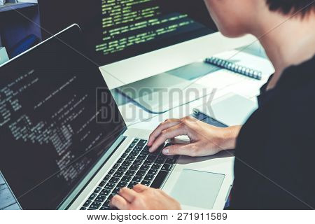 Developing Programmer Development Website Design And Coding Technologies Working In Software Company
