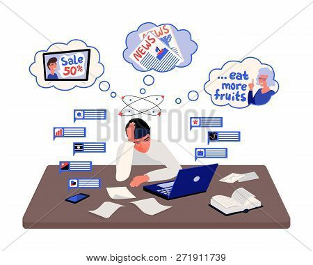 Stressed Man Sitting In Front Of A Desk With Notifications And Thoughts Around Him. Information Over