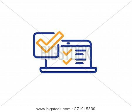 Online Survey Line Icon. Select Answer Sign. Web Interview Symbol. Colorful Outline Concept. Blue An