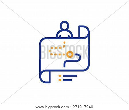 Journey Path Map Line Icon. Project Process Sign. Colorful Outline Concept. Blue And Orange Thin Lin