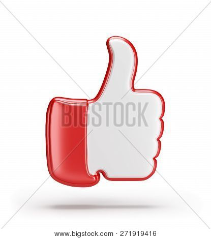 Gesture Of Approval With A Raised Finger To The Top. 3d Image. White Background.
