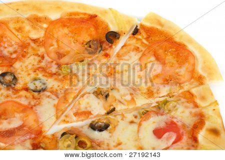 Margarites pizza closeup of mozzarella, tomato, and olive