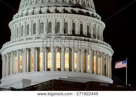 United States Capitol Building Dome detail at night - Washington DC United States of America