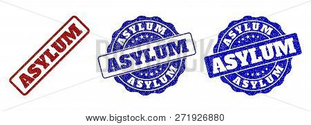 Asylum Grunge Stamp Seals In Red And Blue Colors. Vector Asylum Marks With Grunge Surface. Graphic E