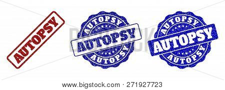 Autopsy Grunge Stamp Seals In Red And Blue Colors. Vector Autopsy Marks With Grunge Texture. Graphic