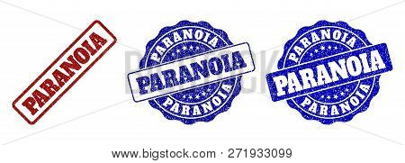 Paranoia Grunge Stamp Seals In Red And Blue Colors. Vector Paranoia Overlays With Grunge Surface. Gr