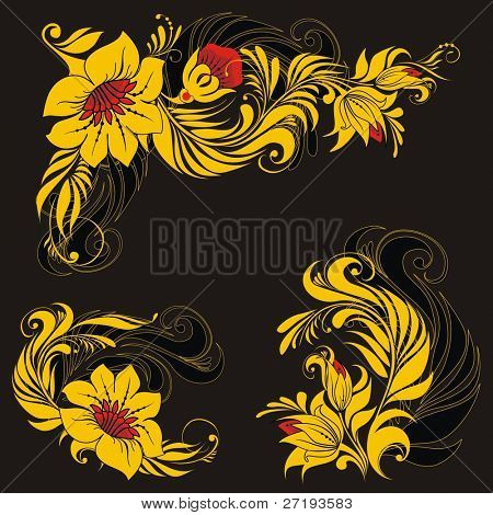 Vector floral ornament in traditional russian style