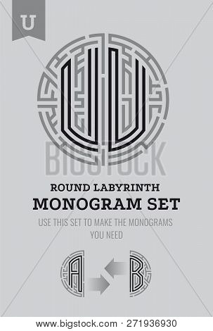 U Letter Maze. Set For The Labyrinth Logo And Monograms, Coat Of Arms, Heraldry, Abbreviation.