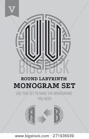 V Letter Maze. Set For The Labyrinth Logo And Monograms, Coat Of Arms, Heraldry, Abbreviation.