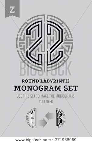 Z Letter Maze. Set For The Labyrinth Logo And Monograms, Coat Of Arms, Heraldry, Abbreviation.