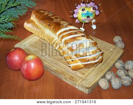 Advent Still Life With Christmas Knit Bread, Apples And Nuts. Apple Decorated Candies. On A Wooden B