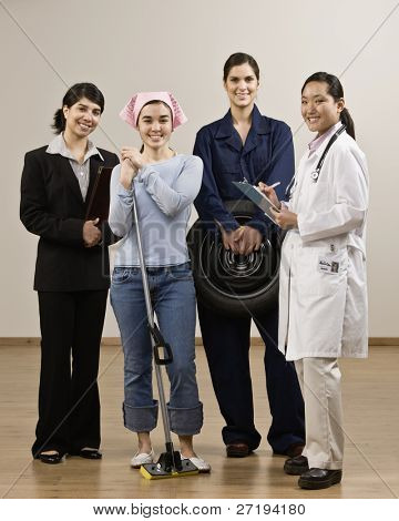 Young women dressed in various occupations