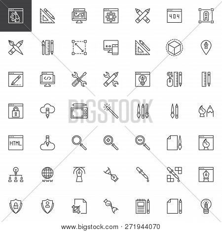 Designer Tools Outline Icons Set. Linear Style Symbols Collection, Line Signs Pack. Vector Graphics.
