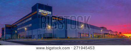 Szczecin, Poland-november 2018: Amazon Logistics Center In Szczecin, Poland In The Light Of The Risi