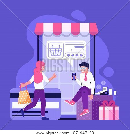 Online Payment Using Application Concept With Couple Shopping On Smartphone. Purchases On Internet W