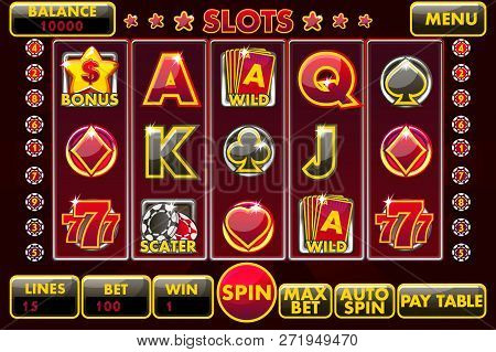 Vector Interface Slot Machine In Black-red Colored. Complete Menu Of Graphical User Interface And Fu