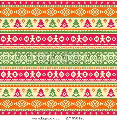 Knitted Pattern In Ethnic Style