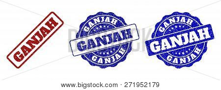 Ganjah Grunge Stamp Seals In Red And Blue Colors. Vector Ganjah Overlays With Grunge Surface. Graphi