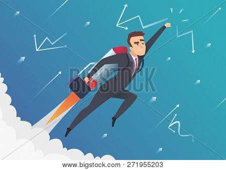 Success Business. Businessman Goes On To The Moon Flying On Startup Speed Rocket Improvement Lift Of