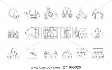 Simple Business Team Icon. Social Communication Meeting Group Or Person Work Discussion Presentation