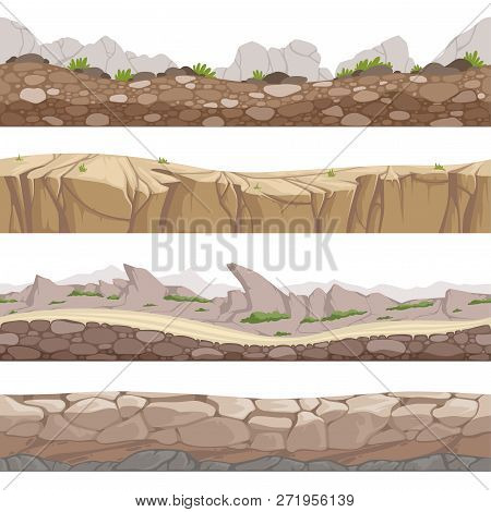 Stone Road Seamless. Rocky Game Backgrounds With Various Types Of Stones Vector Cartoon Collection.