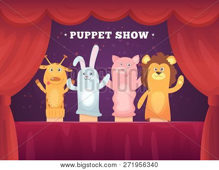 Puppet Show. Red Curtains Theatre Performance For Kids Stage With Socks Toys For Hands Cartoon Backg