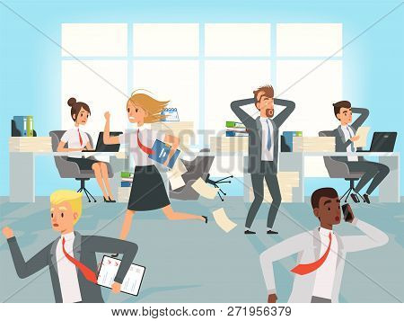 Office Deadline. Business Workers Managers Stress Running On Workplaces At Work Vector Characters. I