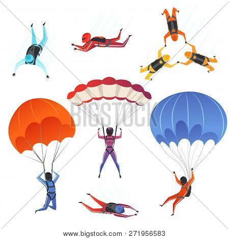 Parachute Jumpers. Extreme Sport Skydiving Paragliding Male And Female Sportsmen In Sky Vector Chara