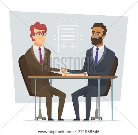 Sign Contract. Business Meeting Selling Deal Traders Dialogue Partnership Vector Cartoon Characters