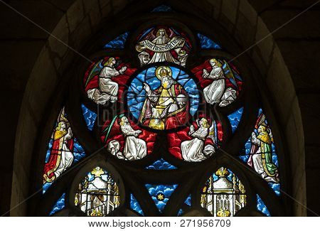 Troyes, France - August 31, 2018: Colorful Stained Glass Windows In  Basilique Saint-urbain, 13th Ce