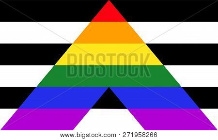 Straight Ally Pride Flag - Mix Of Lgbt And Heterosexual Communities Signs
