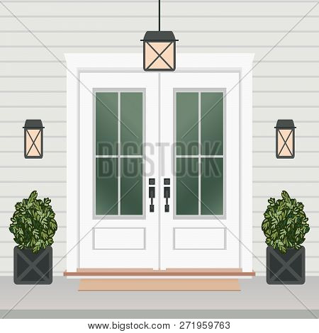 House Door Front With Doorstep And Mat, Window, Lamps, Flowers, Entry Facade Building, Exterior Entr