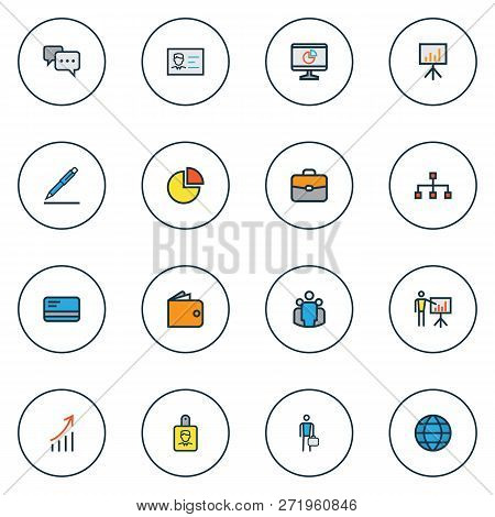 Business Icons Colored Line Set With Employee, Pie Chart, Introducing And Other Conversation Element
