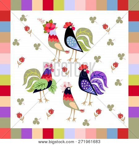 Handkerchief, Napkin  Or Print For Pillowcase With Funny Birds, Leaves Of Clover And Red Tulips Isol