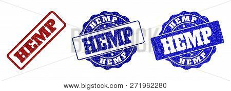 Hemp Grunge Stamp Seals In Red And Blue Colors. Vector Hemp Imprints With Draft Style. Graphic Eleme