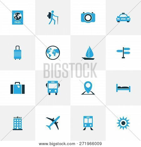 Journey Icons Colored Set With Identification Document, Direction, Aircraft And Other Bed Elements.