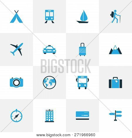 Journey Icons Colored Set With Camera, Five Star Building, Cab And Other Hotel  Elements. Isolated