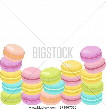 Cake Macaron Or Macaroon Vector Illustration, Colorful Almond Cookies, Pastel Colors