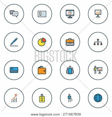 Trade Icons Colored Line Set With Employee, Pie Chart, Introducing And Other Conversation Elements.