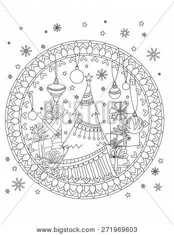 Christmas Coloring Page. Adult Coloring Book. Christmas Tree, Decoration, Gift Boxes, Ribbons, Balls