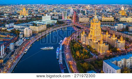 Aerial View Of Moscow City With Moscow River, Russia, Moscow Skyline With The Historical Architectur