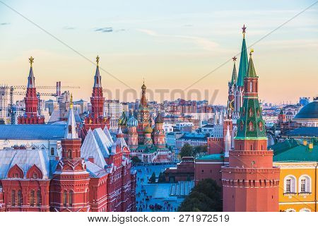 St. Basil's Cathedral On Red Square In Moscow City, St. Basil's Cathedral Famous Place In Russia At