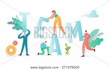 Teamwork Concept. Business People Characters Team Working Together, Project Process. Partnership, Co