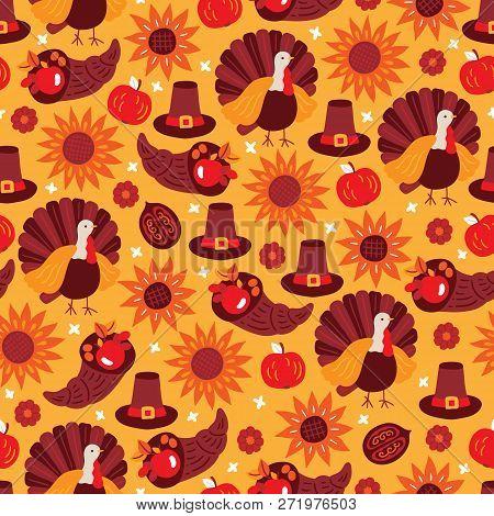 Thanksgiving Day Seamless Pattern With Sunflower, Turkey, Apple, Pumpkin, Hat, Cornucopia, Walnut On