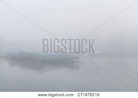 Floating House On The River With Clouds In The Morning, Relax Time On The Holiday