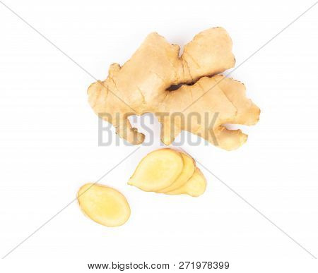 Fresh Ginger Root With Sliced On White Background For Herb And Medical Product Concept