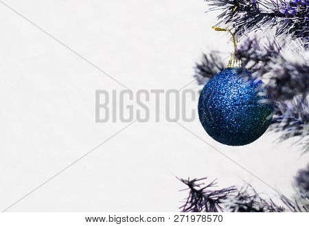 Blue Christmas Ball Hanging On Christmas Tree. Christmas Decoration. Christmas Winter Background. Ch