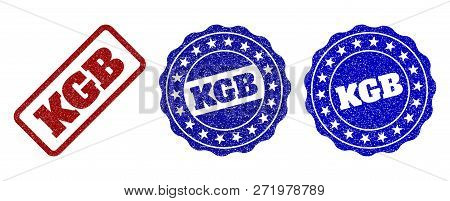 Kgb Grunge Stamp Seals In Red And Blue Colors. Vector Kgb Signs With Grunge Style. Graphic Elements